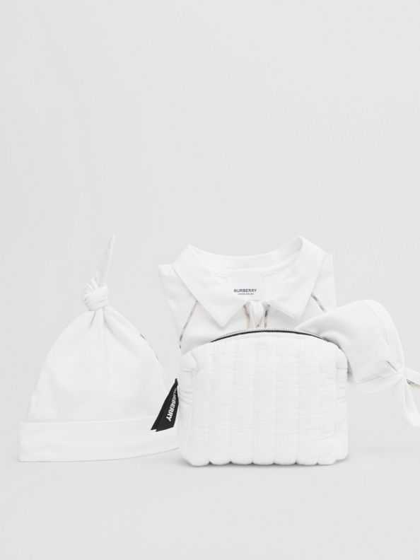 Check Trim Stretch Cotton Three-piece Baby Gift Set in White