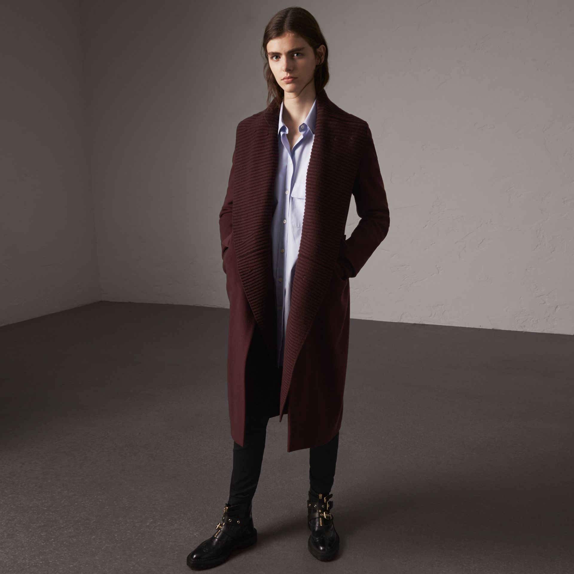 Detachable Rib Knit Collar Cashmere Coat in Blackcurrant - Women | Burberry - gallery image 0