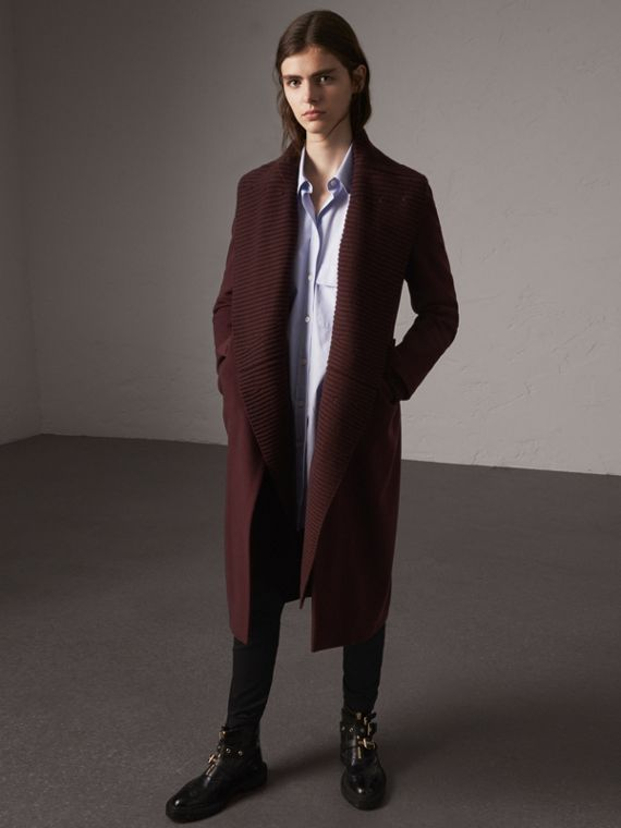 Detachable Rib Knit Collar Cashmere Coat in Blackcurrant