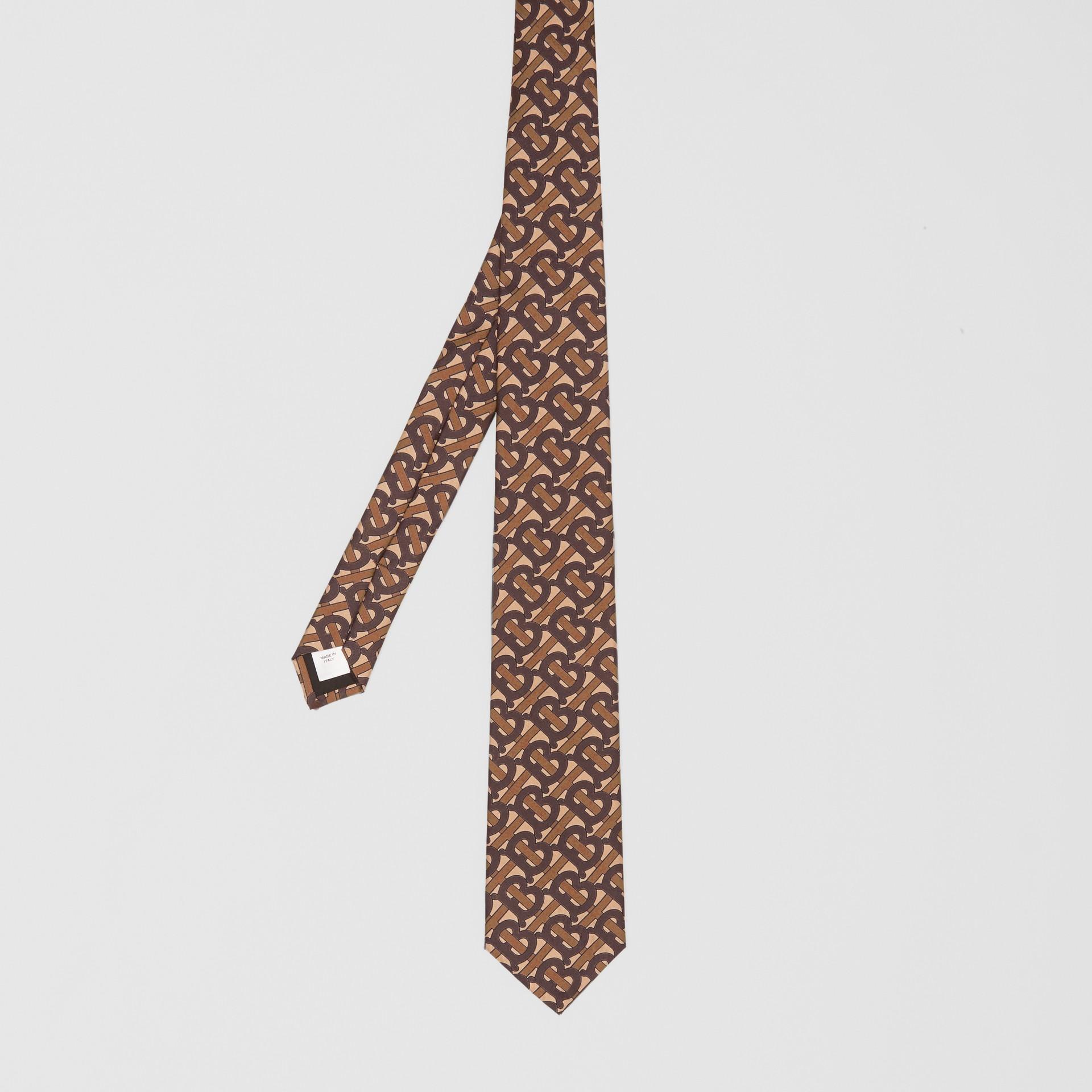 Classic Cut Monogram Print Silk Tie in Bridle Brown - Men | Burberry Singapore - gallery image 4