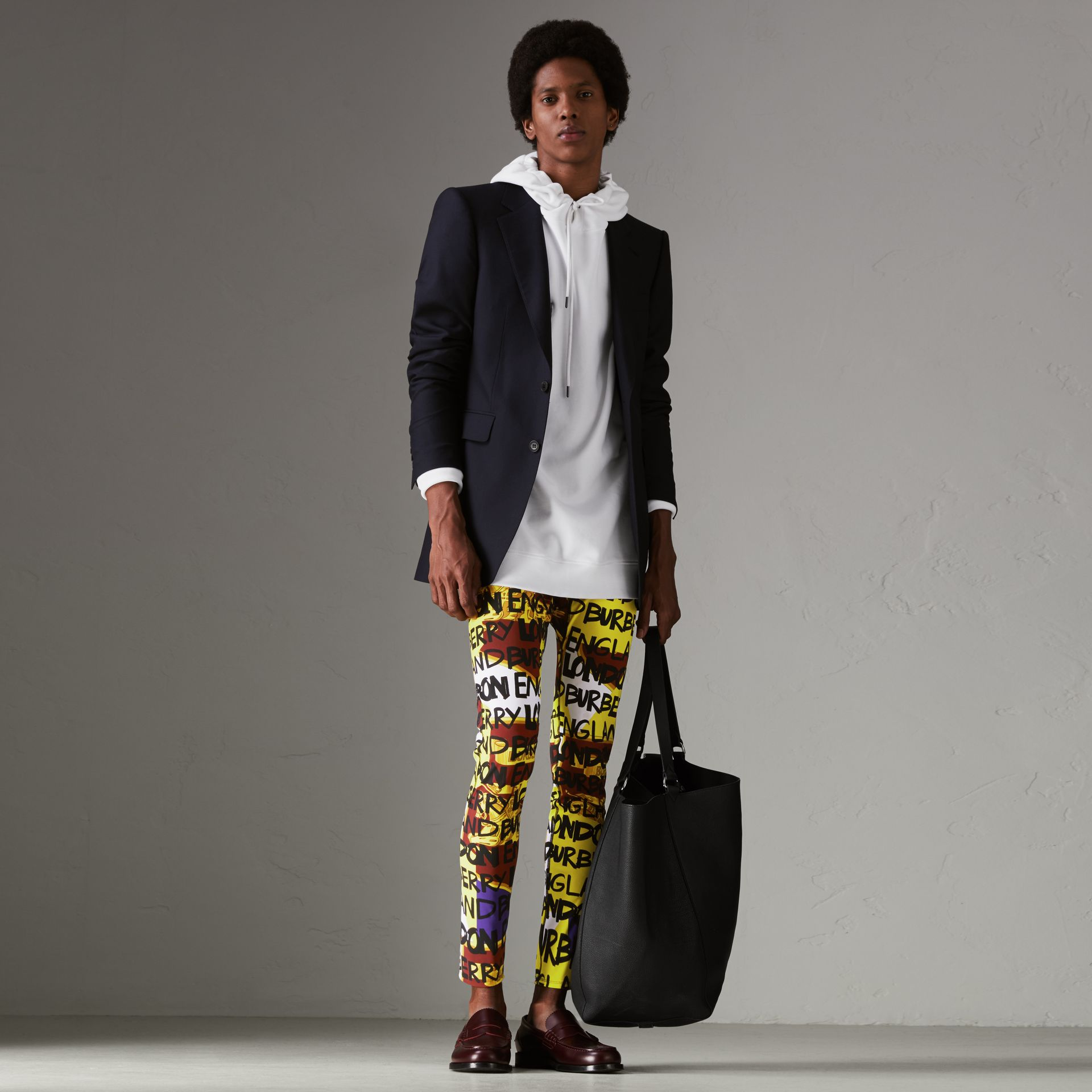 Graffiti Print Leggings in Bright Yellow - Men | Burberry - gallery image 0