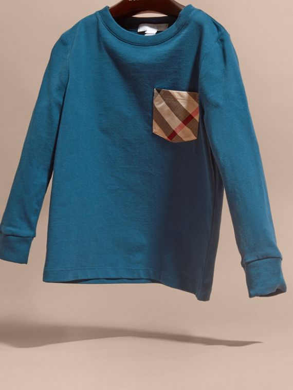 Mineral blue Check Pocket Cotton Jersey Top Mineral Blue - cell image 2