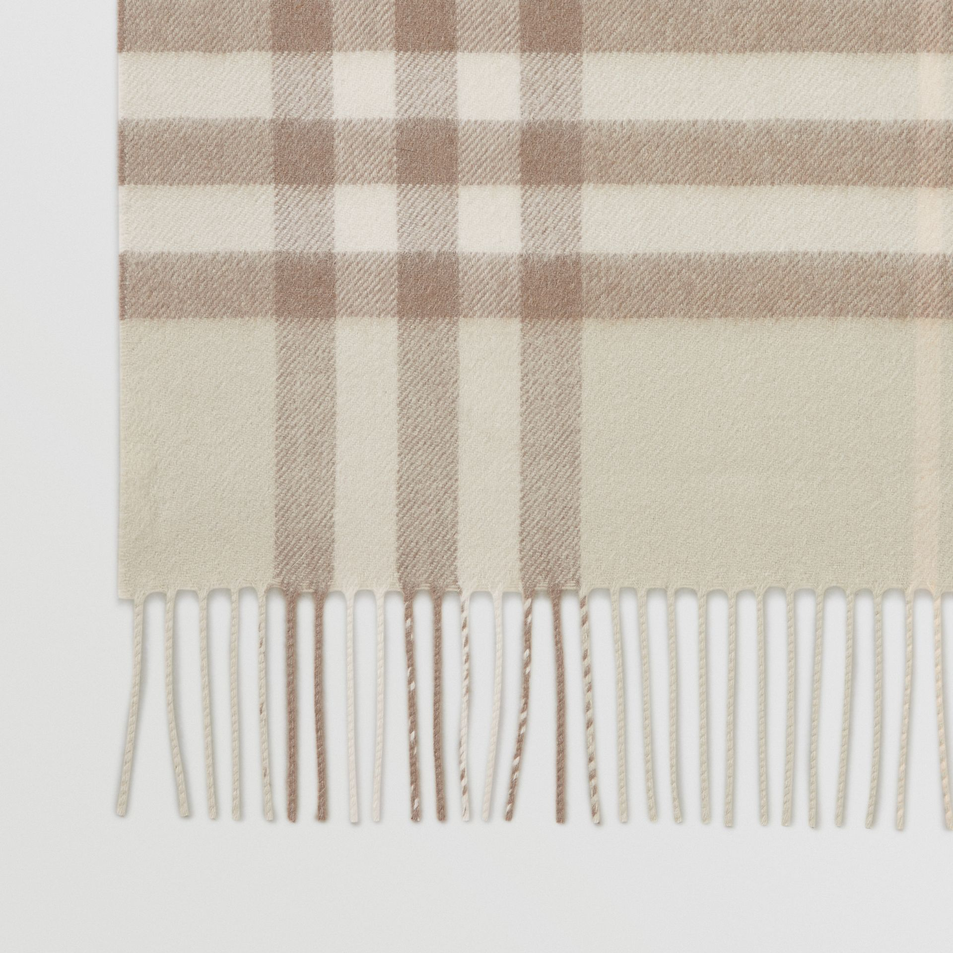 The Classic Check Cashmere Scarf in Green | Burberry - gallery image 1
