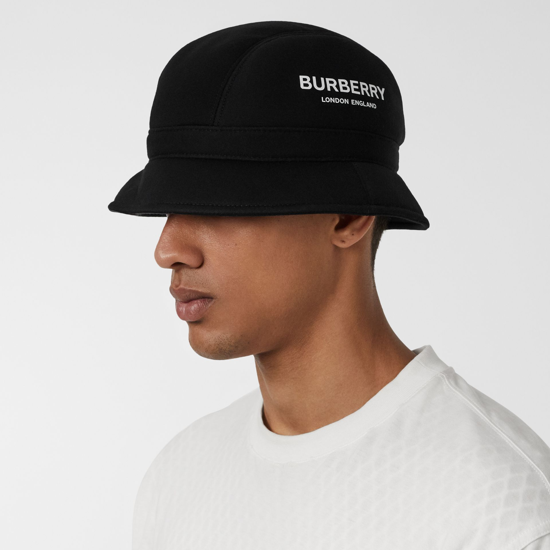 Kingdom Print Neoprene Bucket Hat in Black | Burberry - gallery image 3