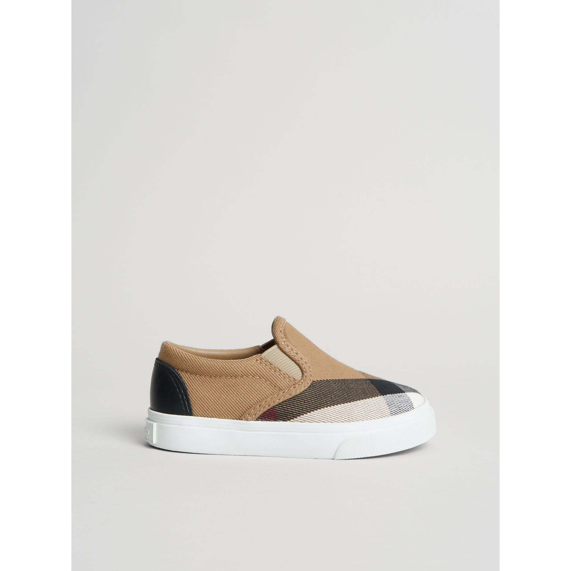 House Check and Leather Slip-on Sneakers in Classic/optic White | Burberry Australia - gallery image 3
