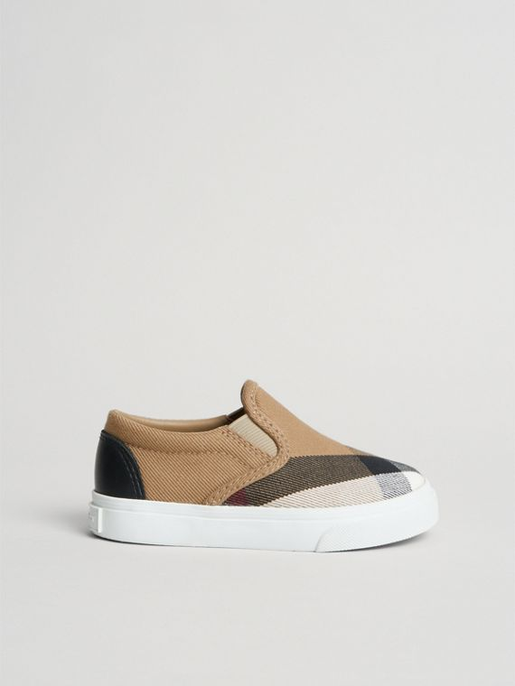 House Check and Leather Slip-on Sneakers in Classic/optic White | Burberry - cell image 3