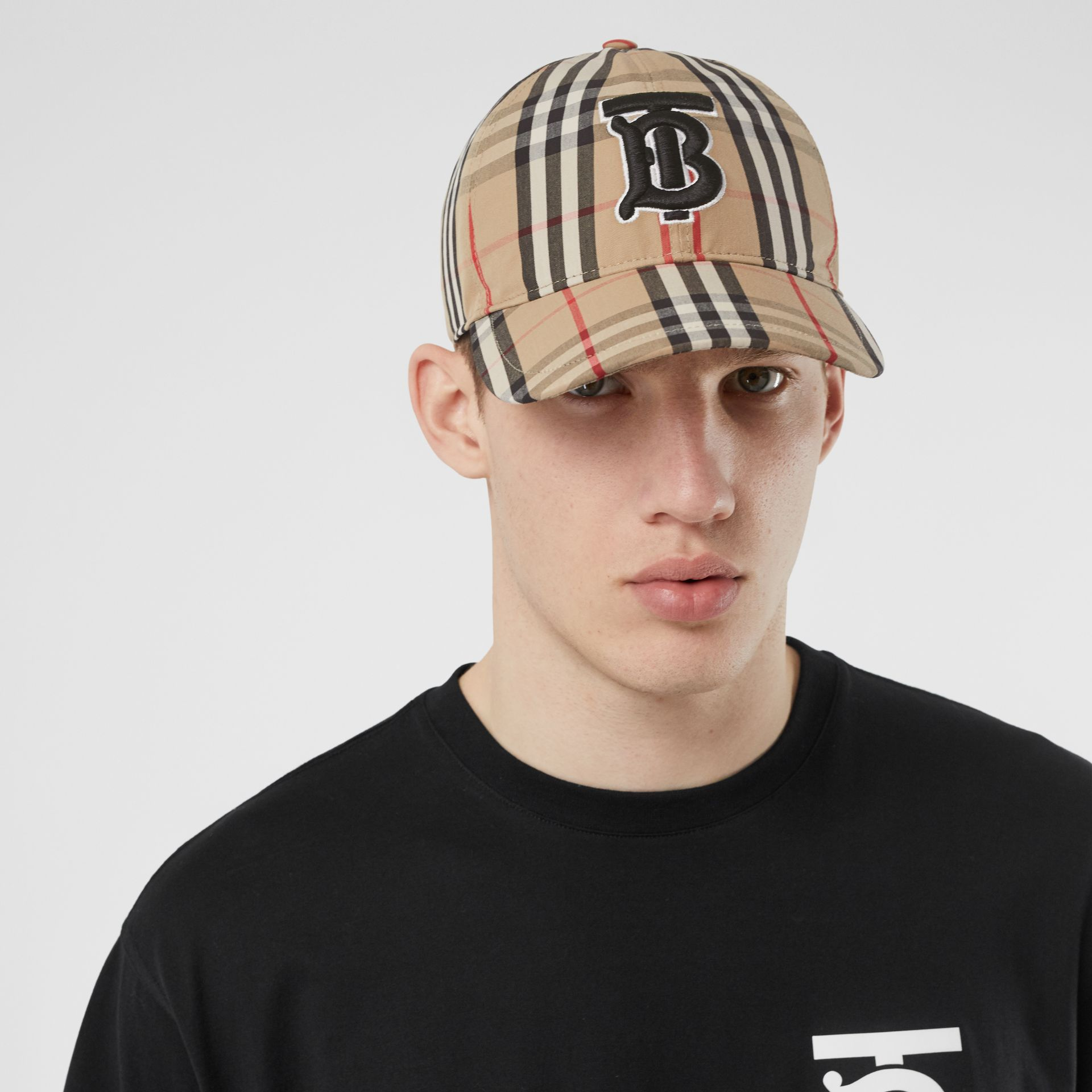 Monogram Motif Vintage Check Baseball Cap in Archive Beige | Burberry - gallery image 3