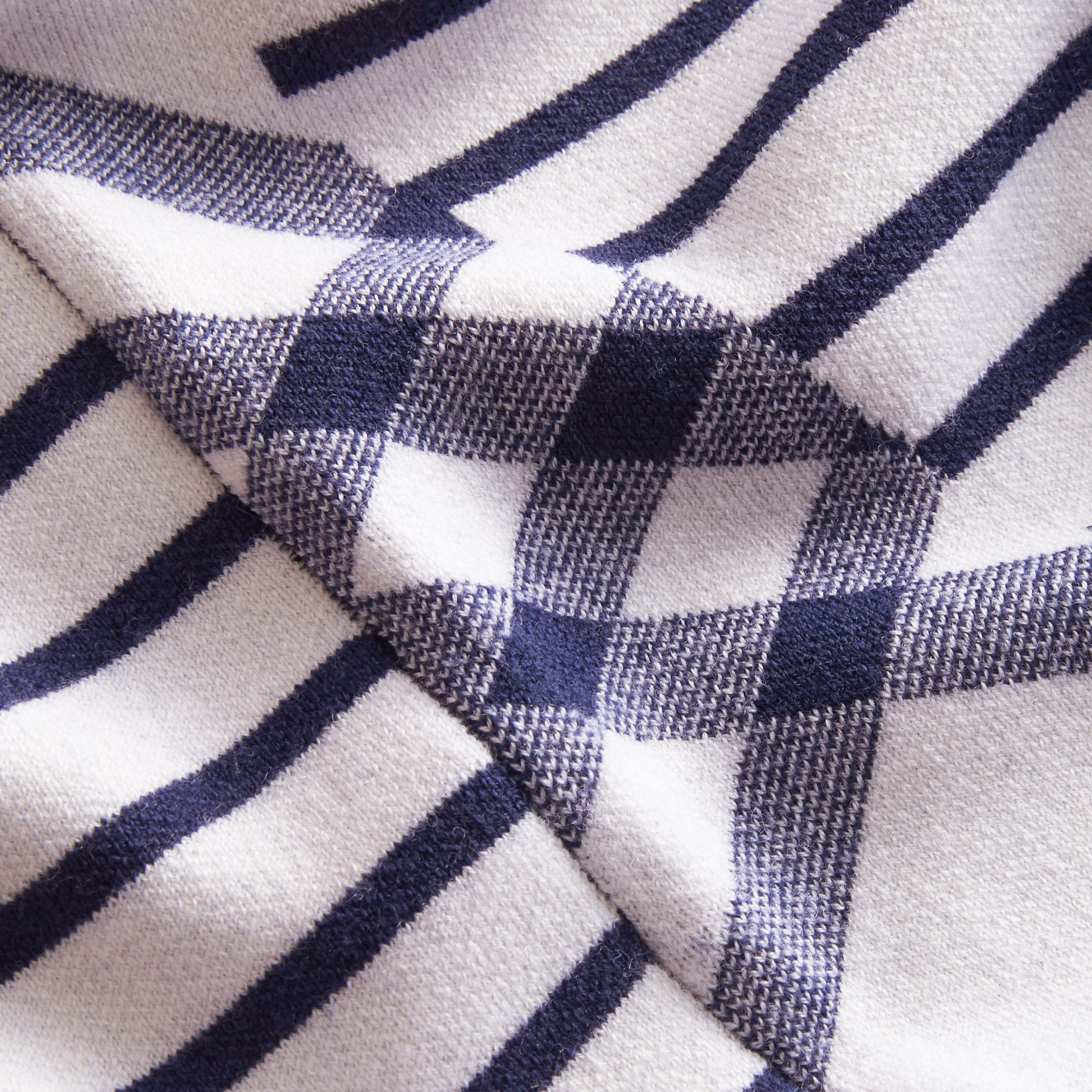 Check and Stripe Wool Blend T-shirt Bright Navy - gallery image 2