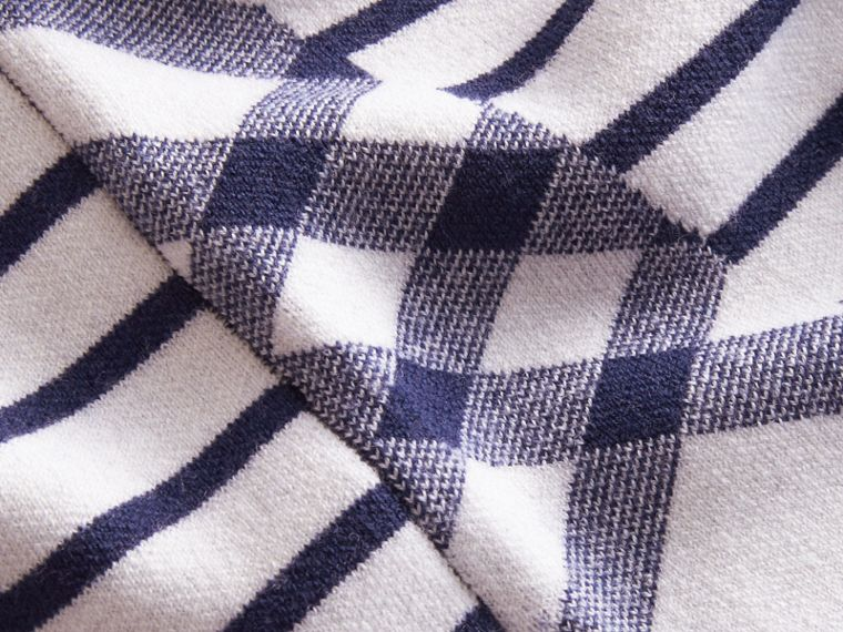 Check and Stripe Wool Blend T-shirt Bright Navy - cell image 1