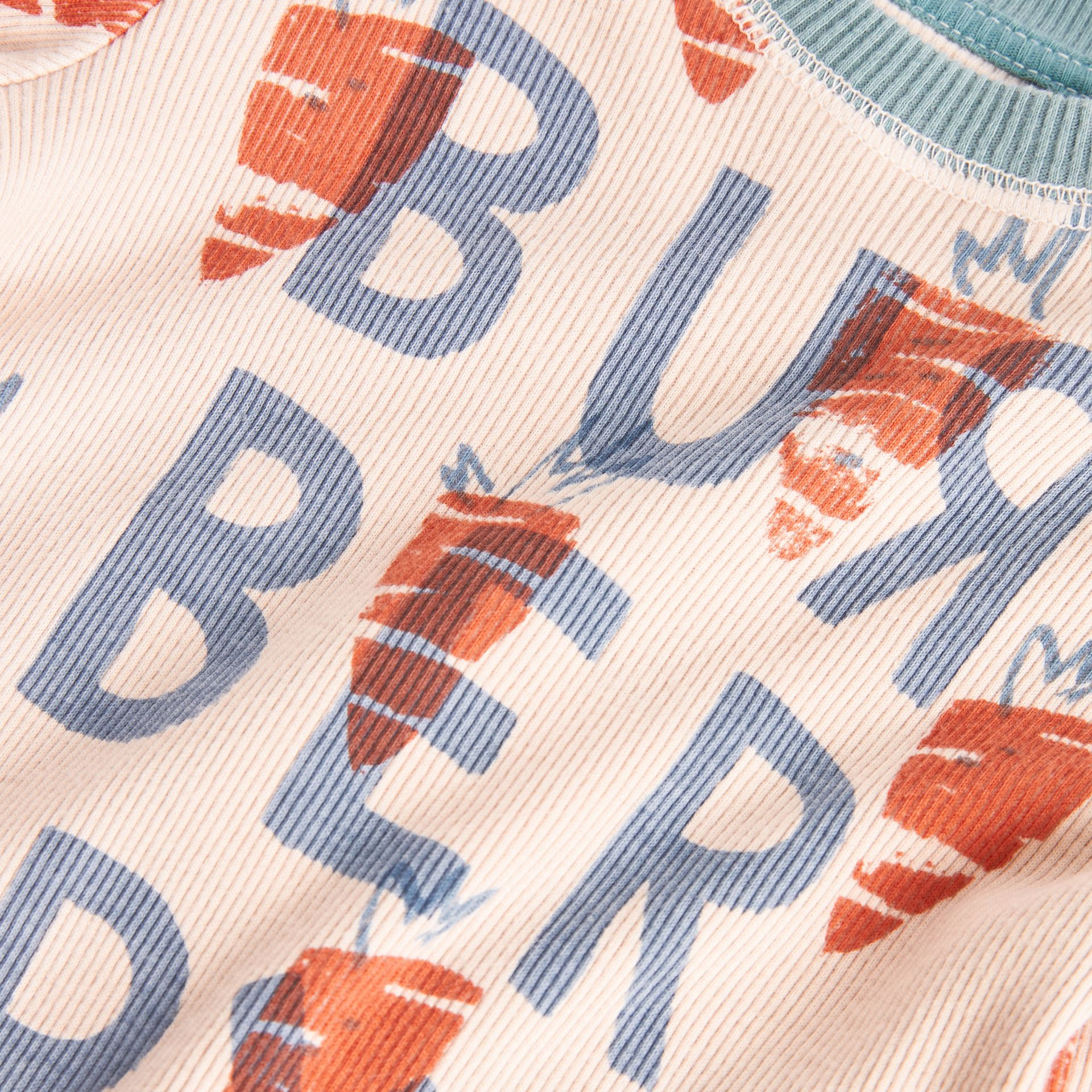 Carrot Print Cotton Bodysuit in Stone - Children | Burberry United Kingdom - gallery image 1