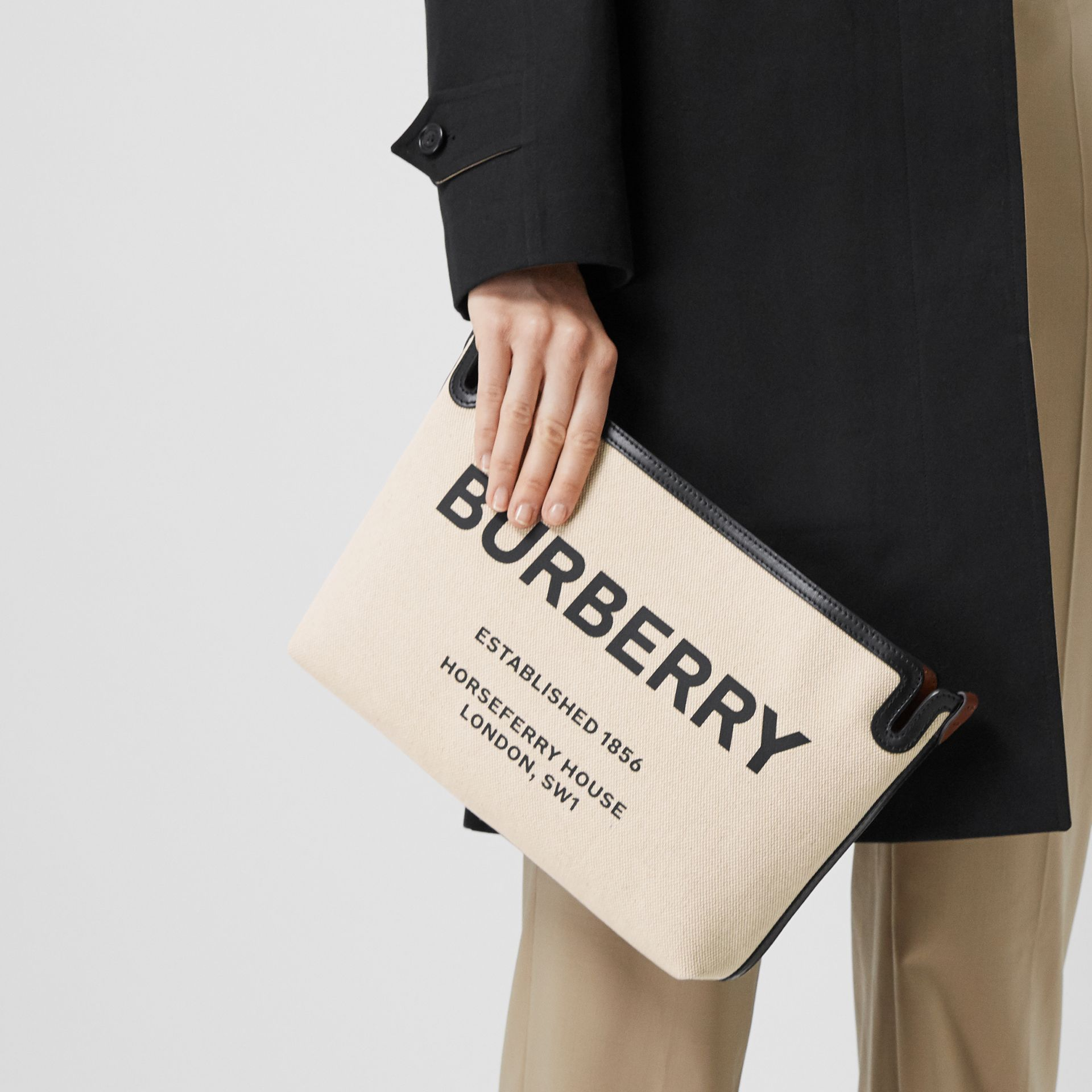 Medium Horseferry Print Canvas Clutch in Malt Brown/black - Women | Burberry Hong Kong - gallery image 2