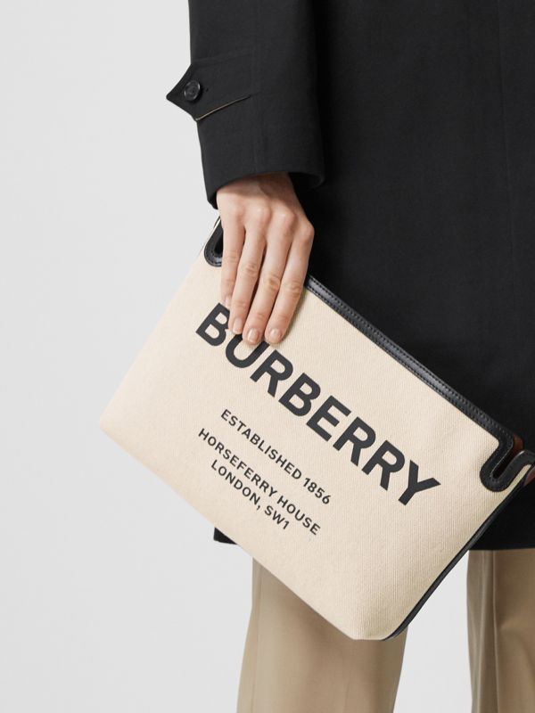 Medium Horseferry Print Canvas Clutch in Malt Brown/black - Women | Burberry United Kingdom - cell image 2