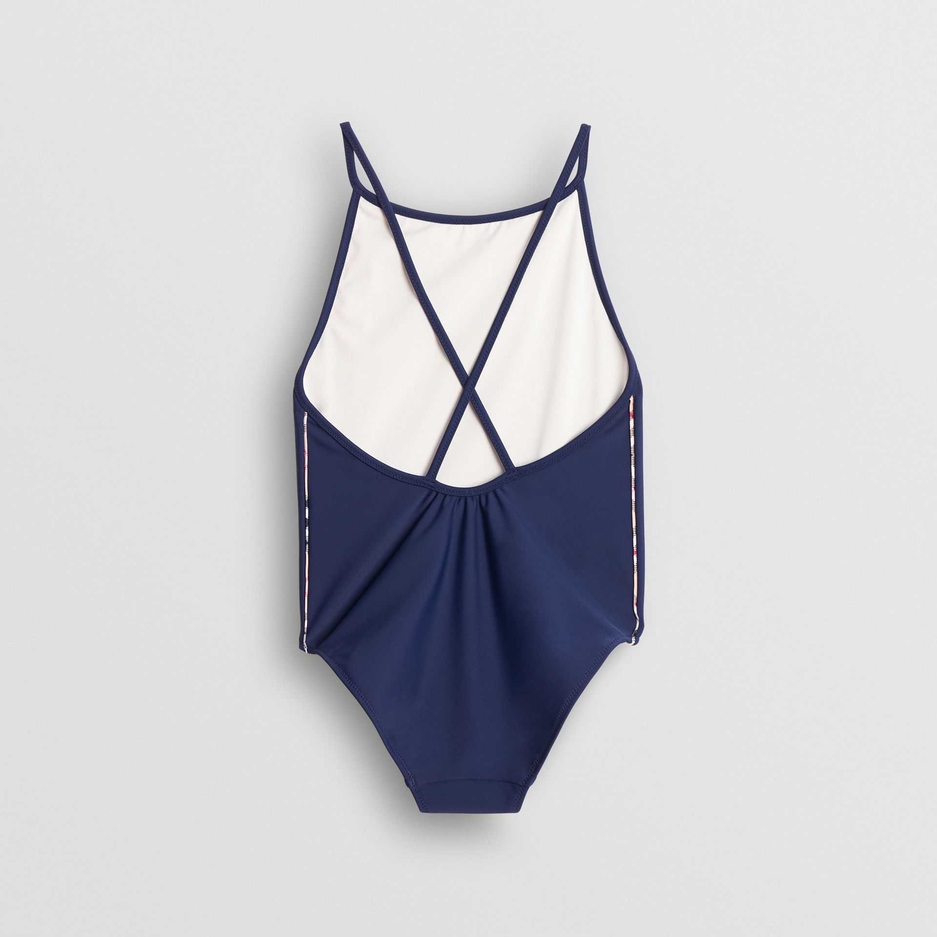 Check Detail One-piece Swimsuit in Navy | Burberry - gallery image 2
