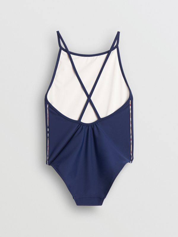 Check Detail One-piece Swimsuit in Navy - Girl | Burberry - cell image 2
