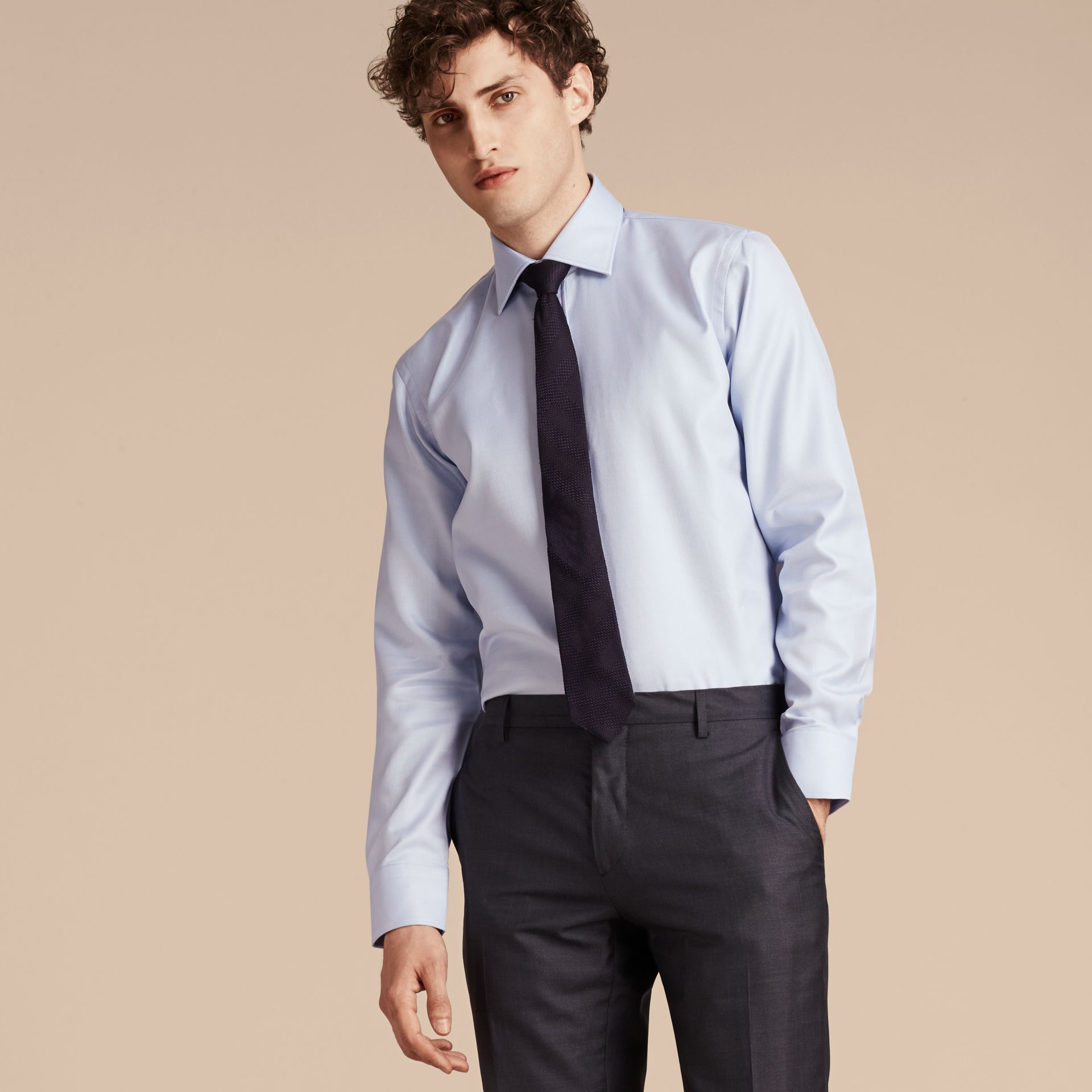 City blue Modern Fit Cotton Twill Shirt City Blue - gallery image 6
