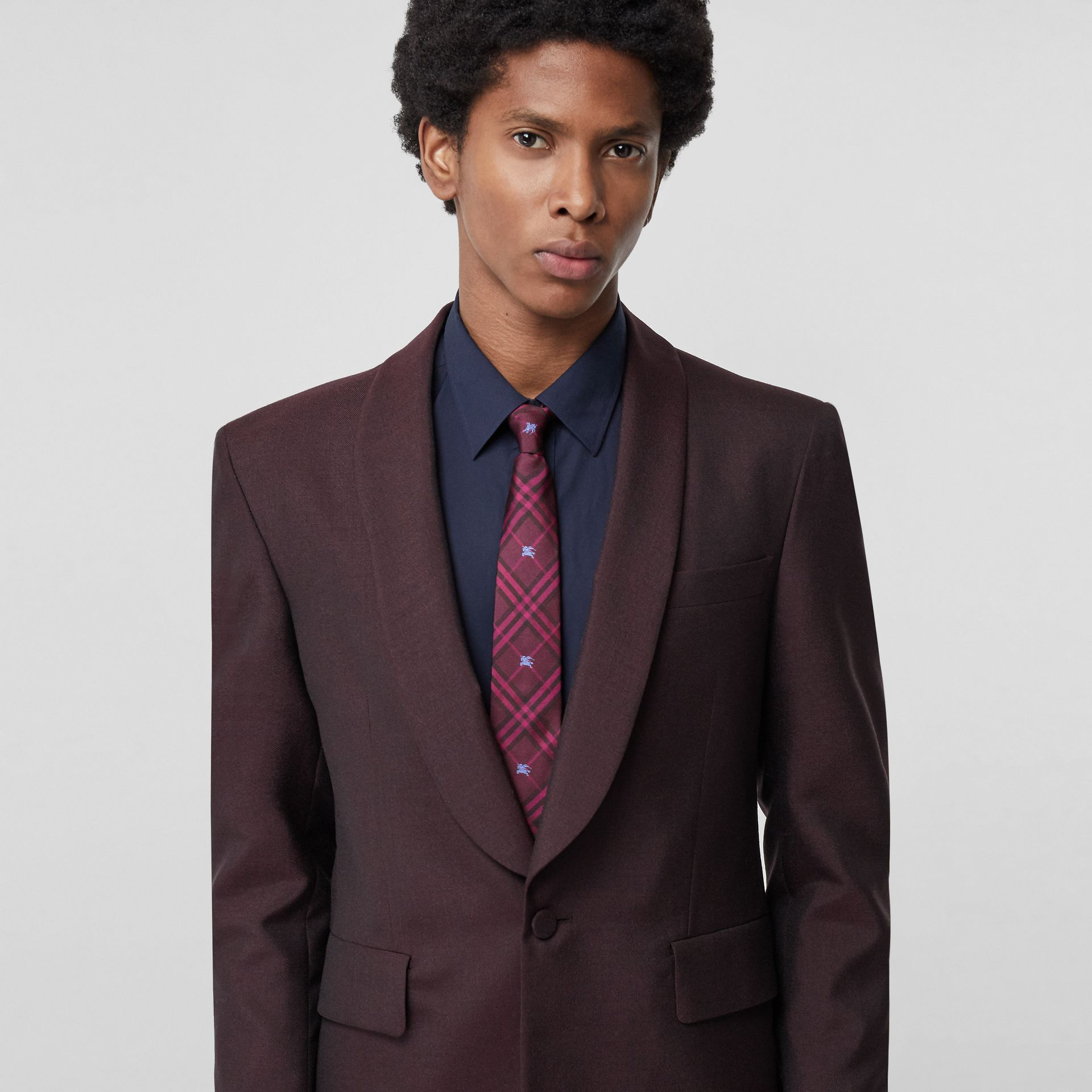 Slim Cut Equestrian Knight Check Silk Tie in Dark Elderberry - Men | Burberry Canada - gallery image 2