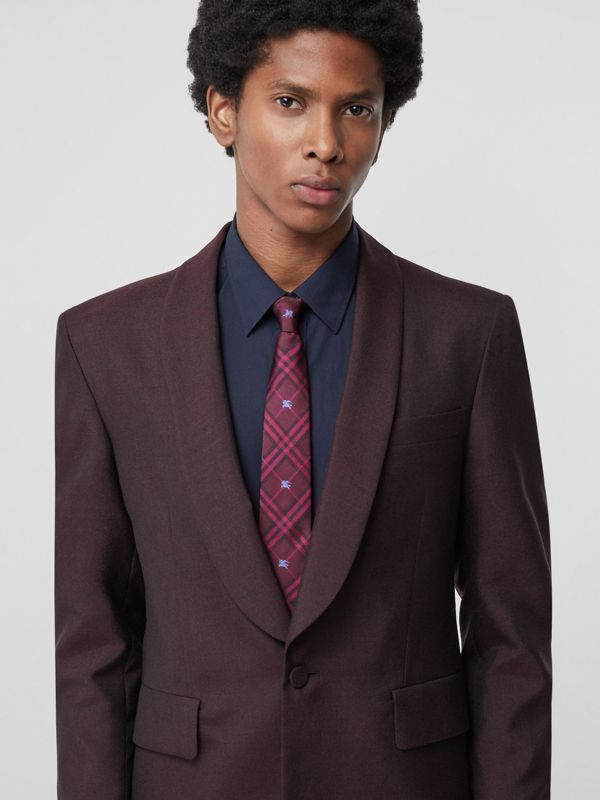 Slim Cut Equestrian Knight Check Silk Tie in Dark Elderberry - Men | Burberry Canada - cell image 2