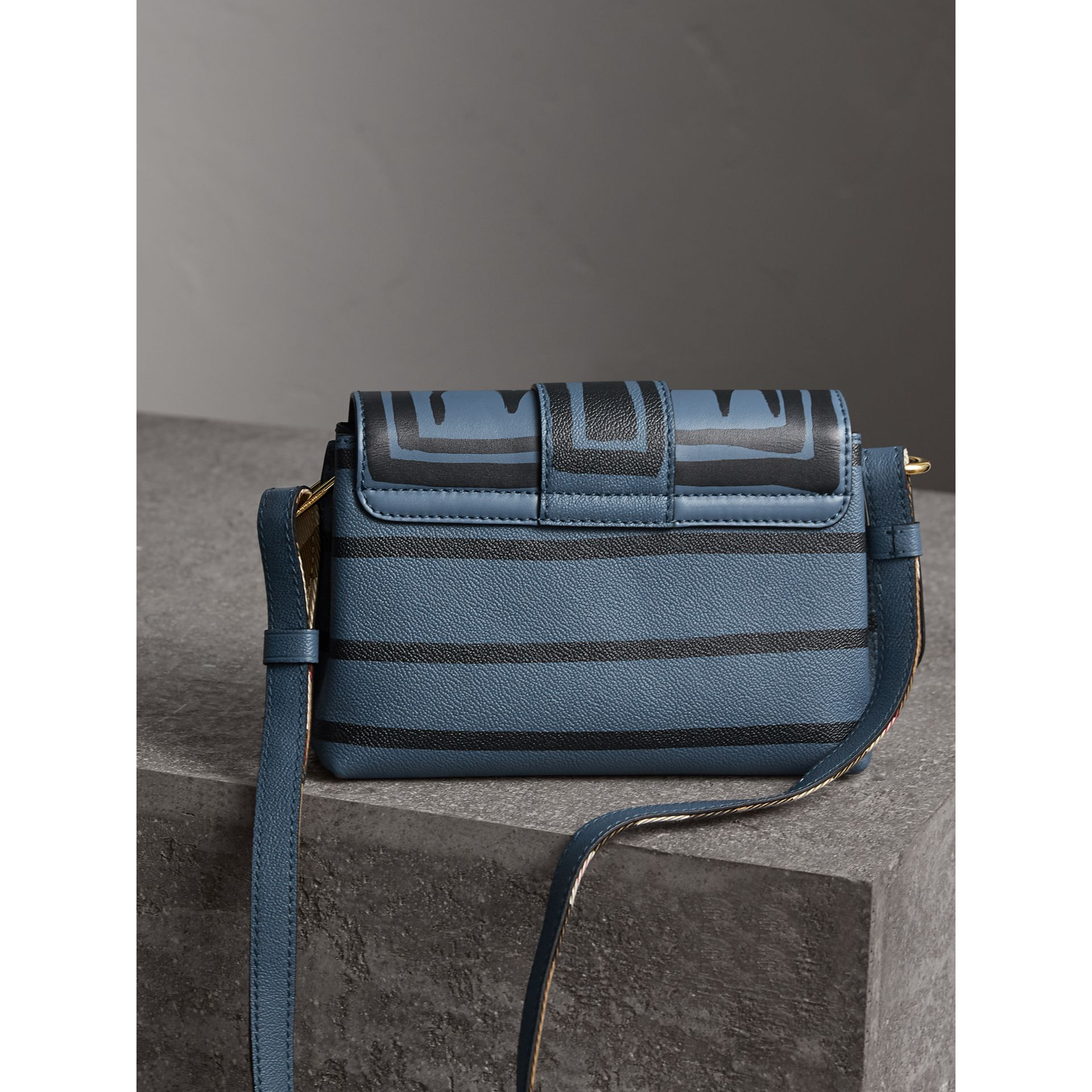 The Buckle Crossbody Bag in Trompe L'oeil Leather in Steel Blue - Women | Burberry - gallery image 5