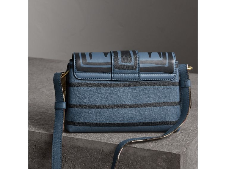 The Buckle Crossbody Bag in Trompe L'oeil Leather in Steel Blue - Women | Burberry United Kingdom - cell image 4