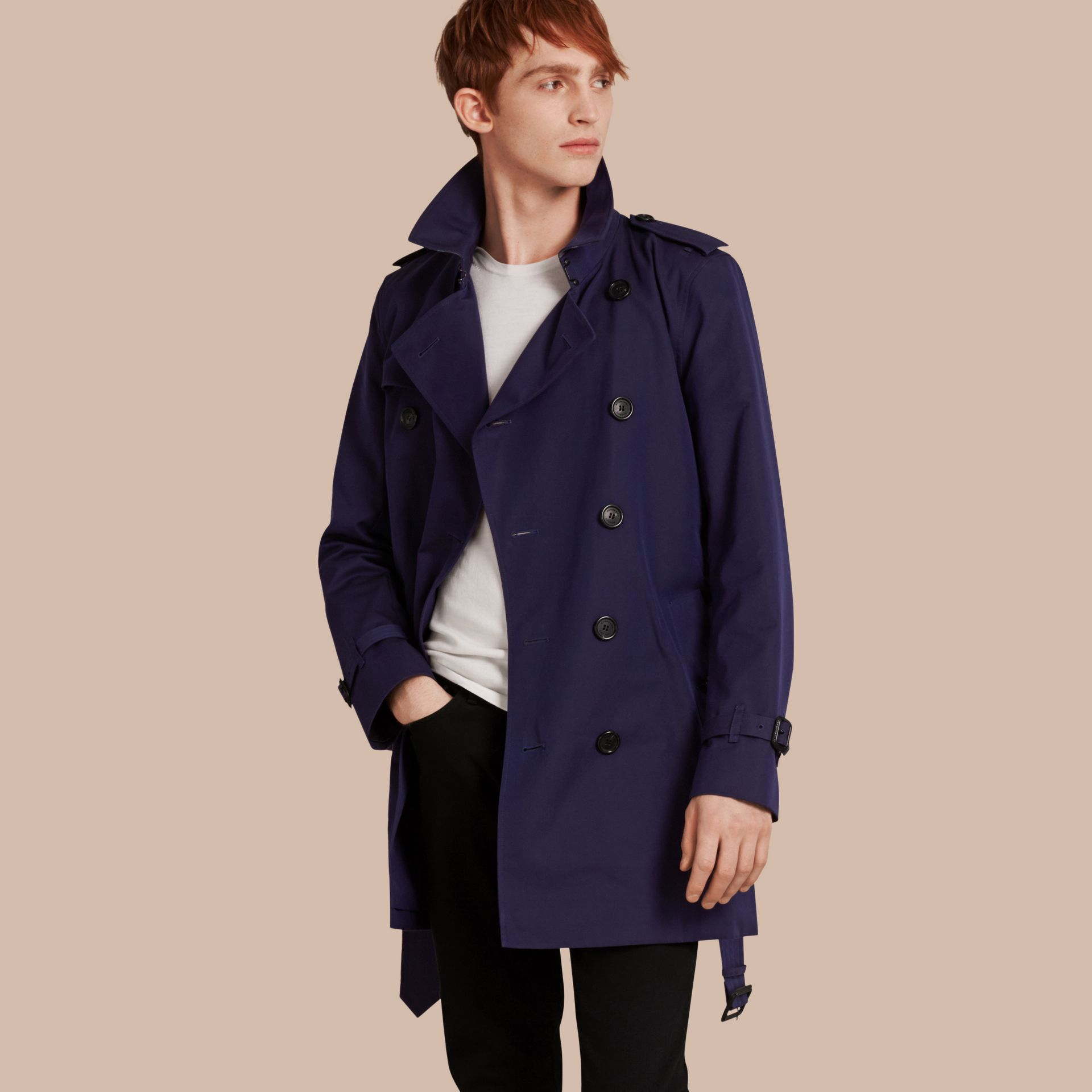 Blueberry Cotton Gabardine Trench Coat Blueberry - gallery image 1