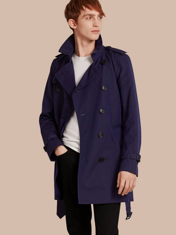 Cotton Gabardine Trench Coat Blueberry