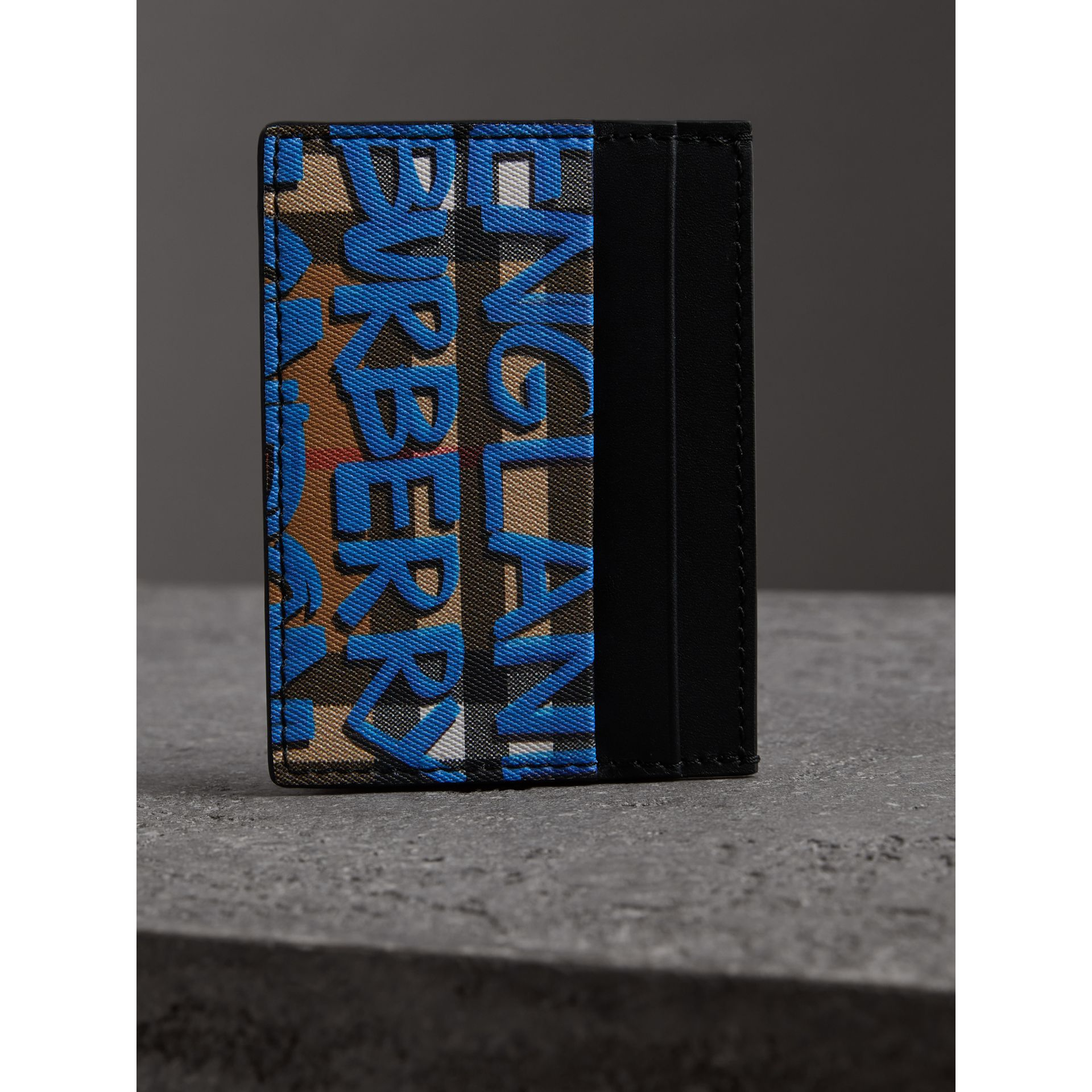 Graffiti Print Vintage Check Leather Card Case in Canvas Blue/antique Yellow | Burberry - gallery image 3