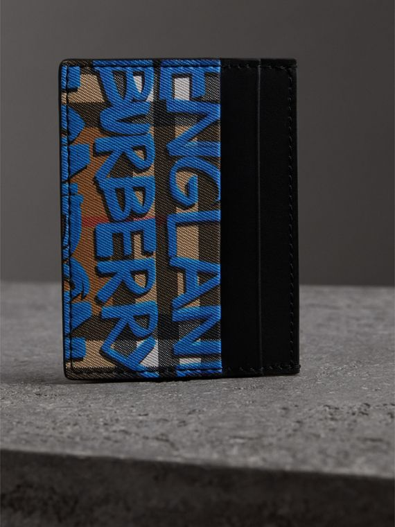 Graffiti Print Vintage Check Leather Card Case in Canvas Blue/antique Yellow | Burberry - cell image 3