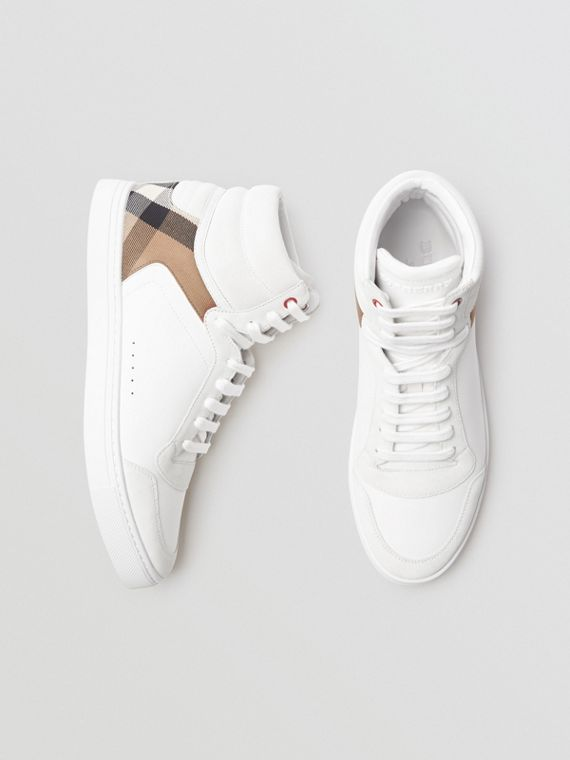 Leather and House Check High-top Sneakers in Optic White