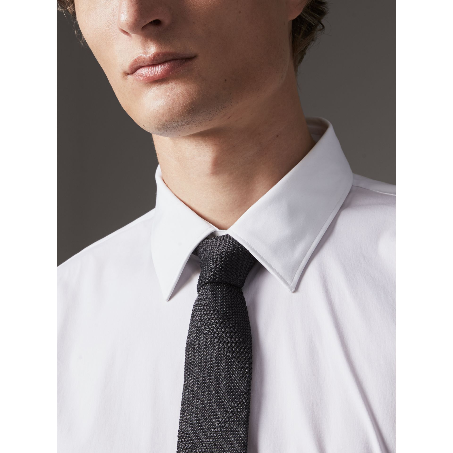 Modern Fit Stretch Cotton Shirt in White - Men | Burberry - gallery image 1