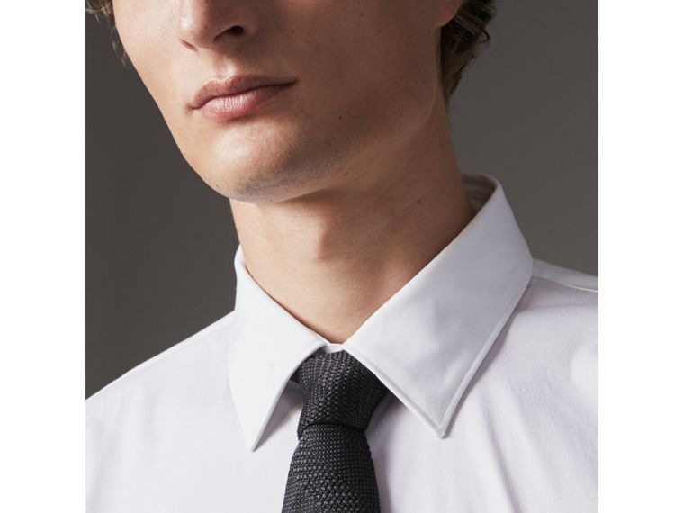 Modern Fit Stretch Cotton Shirt in White - Men | Burberry Australia - cell image 1