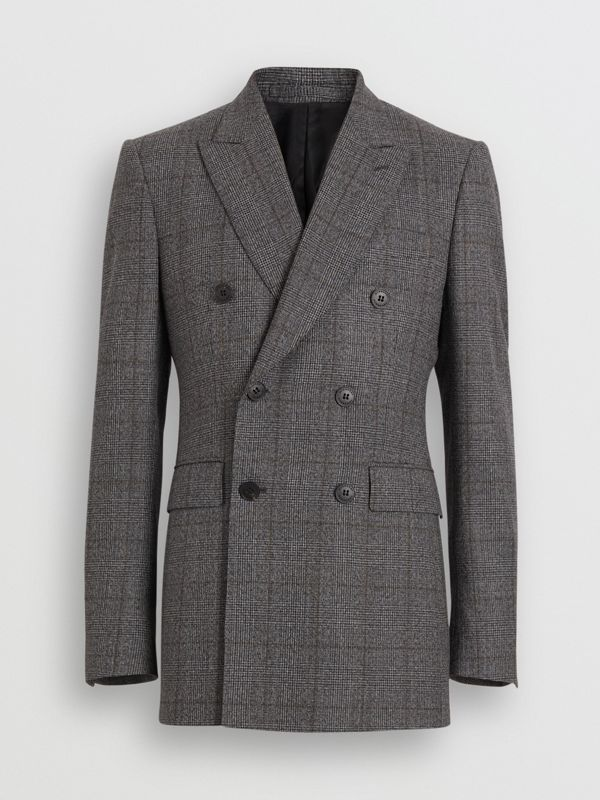 Classic Fit Prince of Wales Check Wool Suit in Charcoal Melange - Men | Burberry United Kingdom - cell image 3