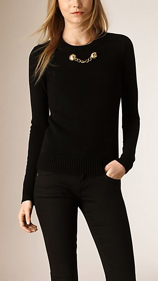 Military Chain Cashmere Cotton Sweater