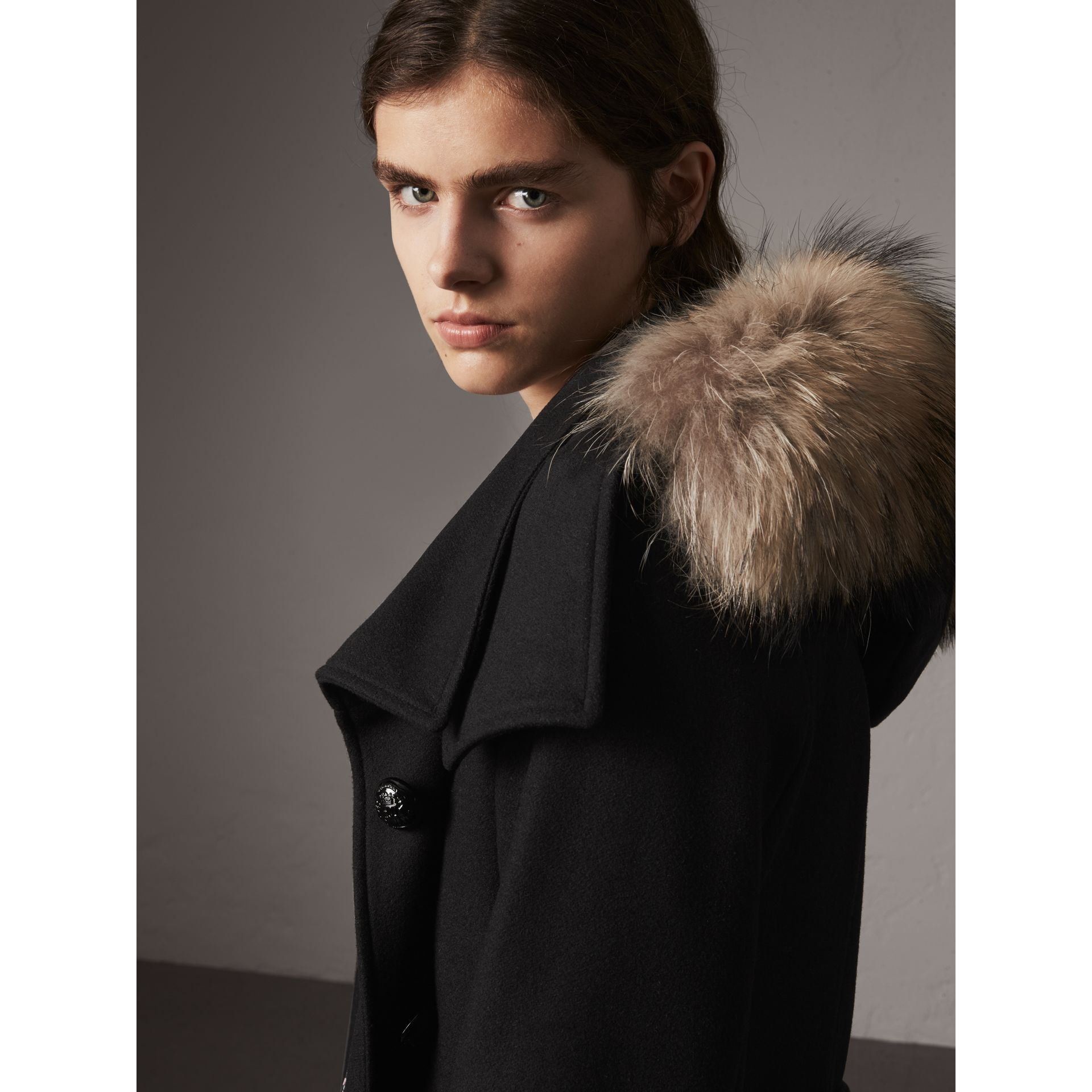 Hooded Wool Blend Coat with Detachable Fur Trim in Black - Women | Burberry - gallery image 4
