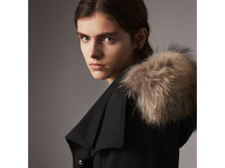Hooded Wool Blend Coat with Detachable Fur Trim in Black - Women | Burberry - cell image 4