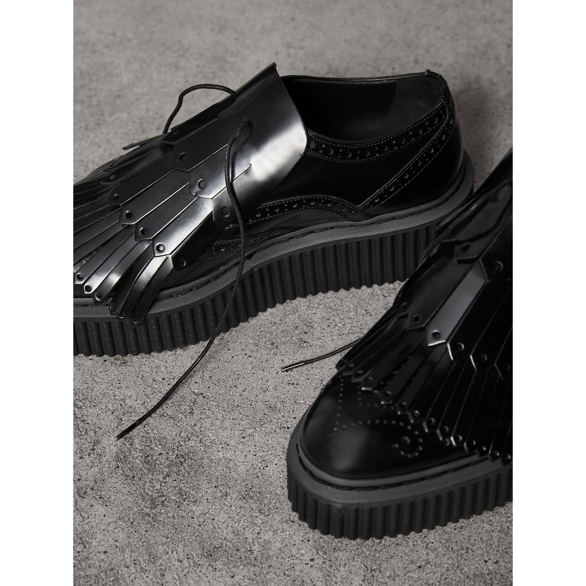 Lace-up Kiltie Fringe Leather Shoes in Black - Women | Burberry - gallery image 4