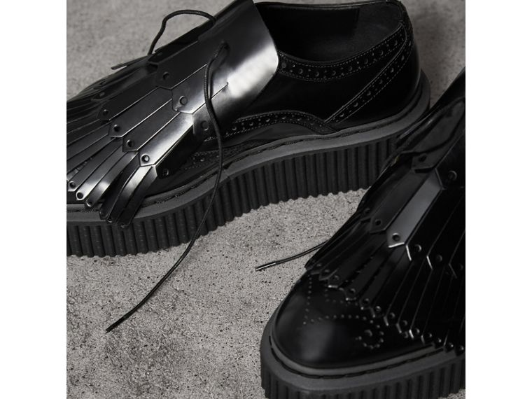 Lace-up Kiltie Fringe Leather Shoes in Black - Women | Burberry - cell image 4