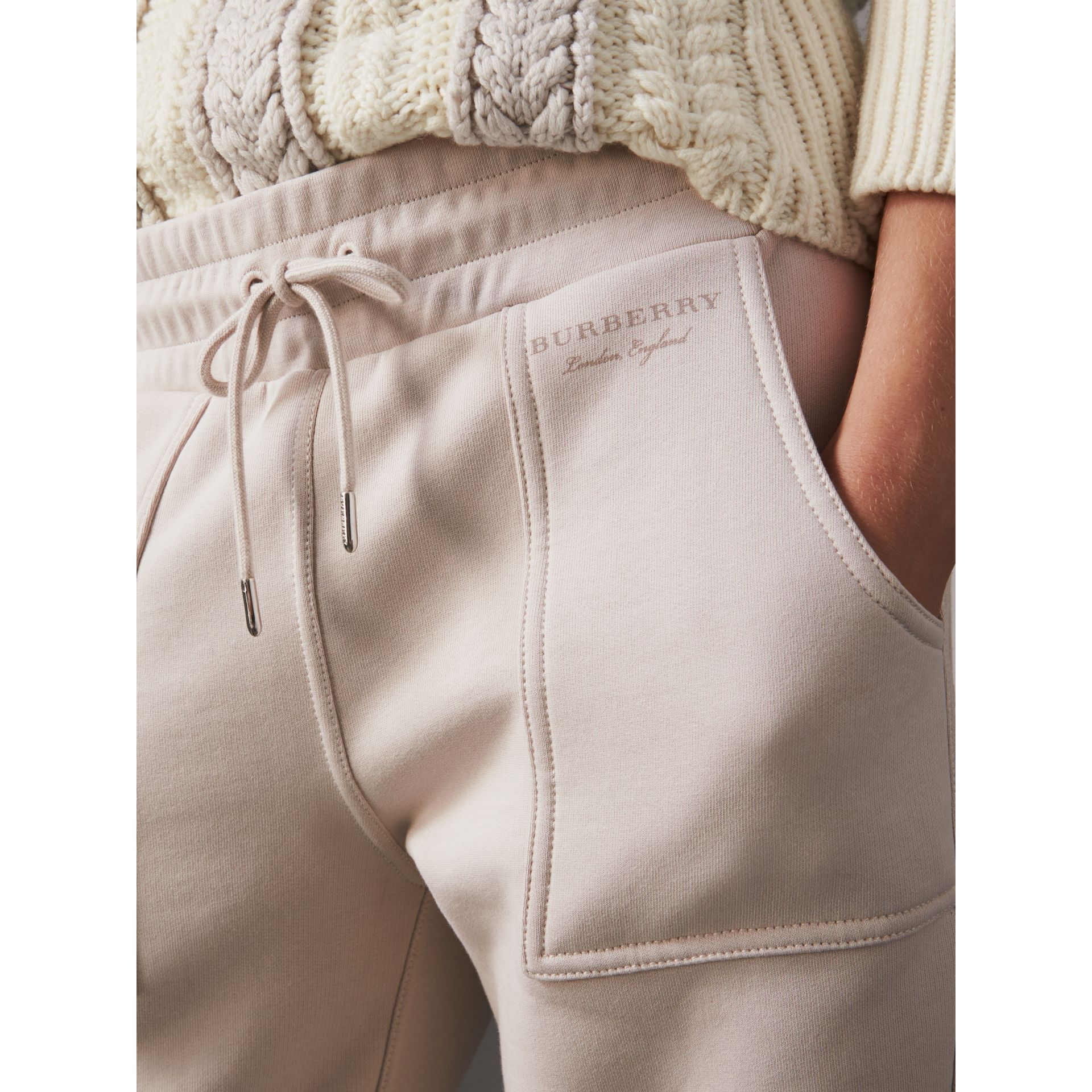 Cropped Jersey Sweatpants in Winter White - Women | Burberry - gallery image 1