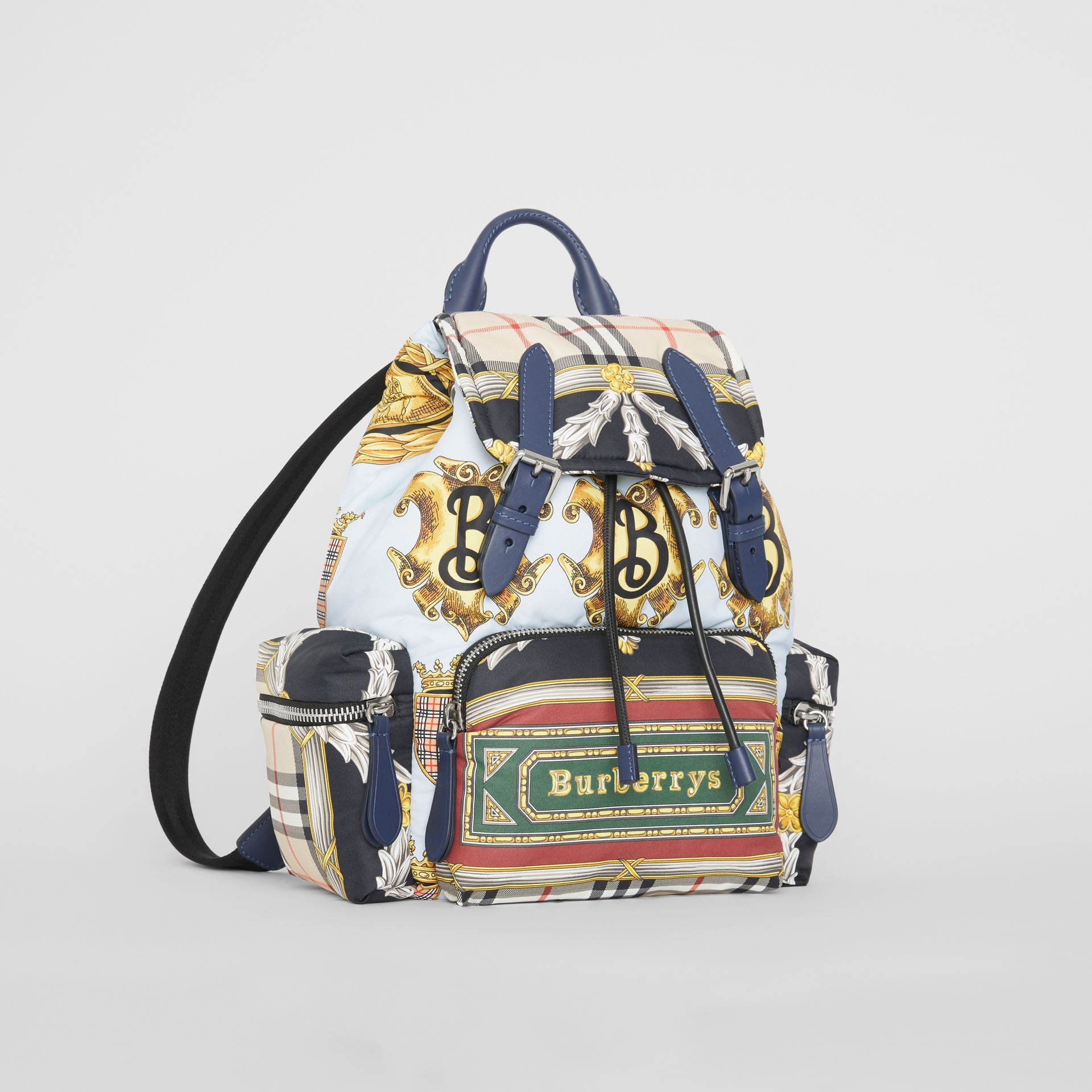 The Medium Rucksack in Archive Scarf Print in Ink Blue - Women | Burberry United Kingdom - gallery image 6