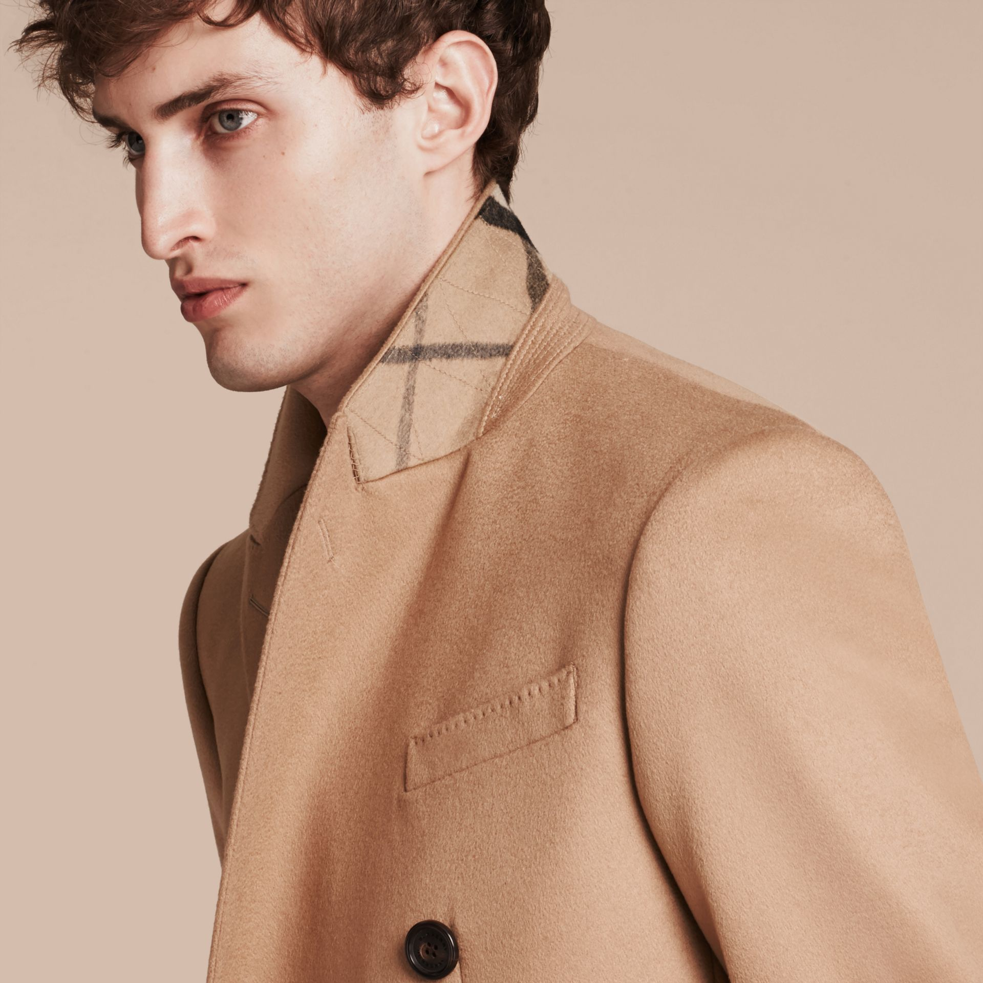 Camel Double-breasted Tailored Cashmere Coat - gallery image 5