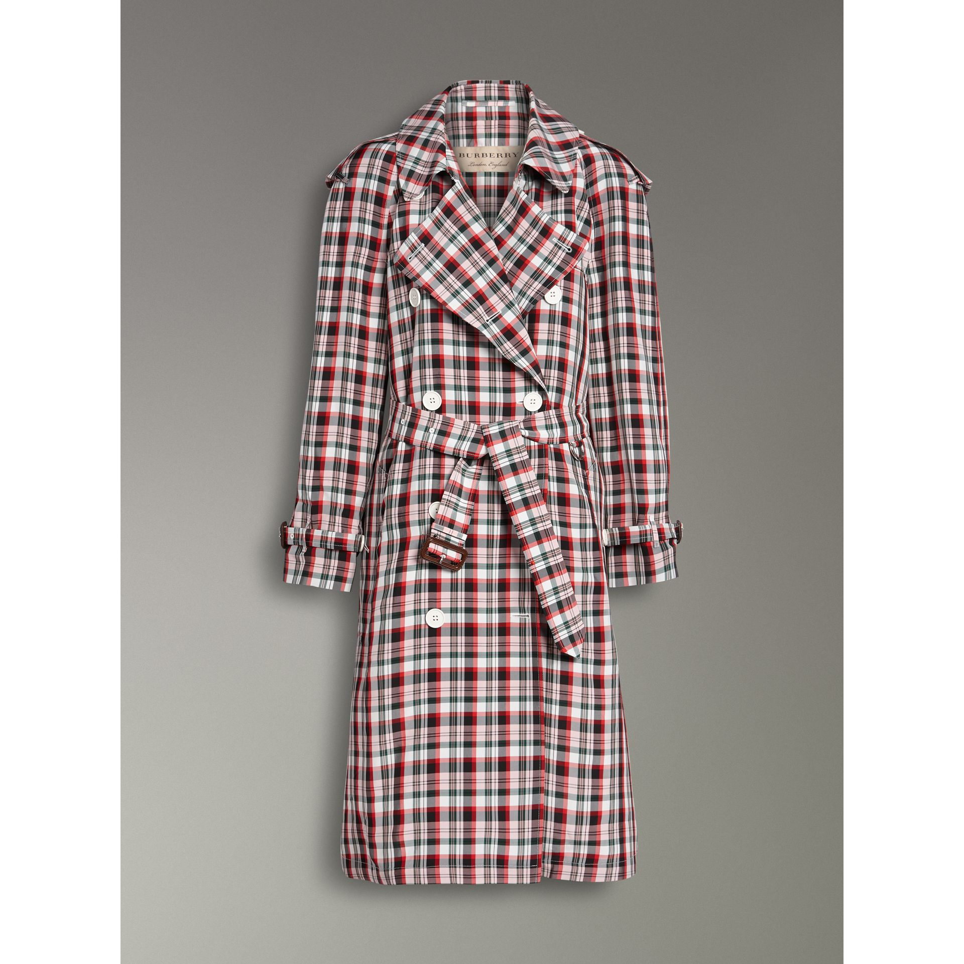 Relaxed Fit Check Trench Coat in Bright Red - Women | Burberry United Kingdom - gallery image 3