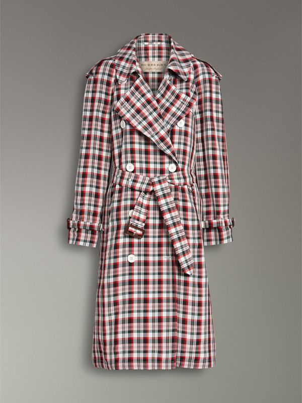 Relaxed Fit Check Trench Coat in Bright Red - Women | Burberry - cell image 3