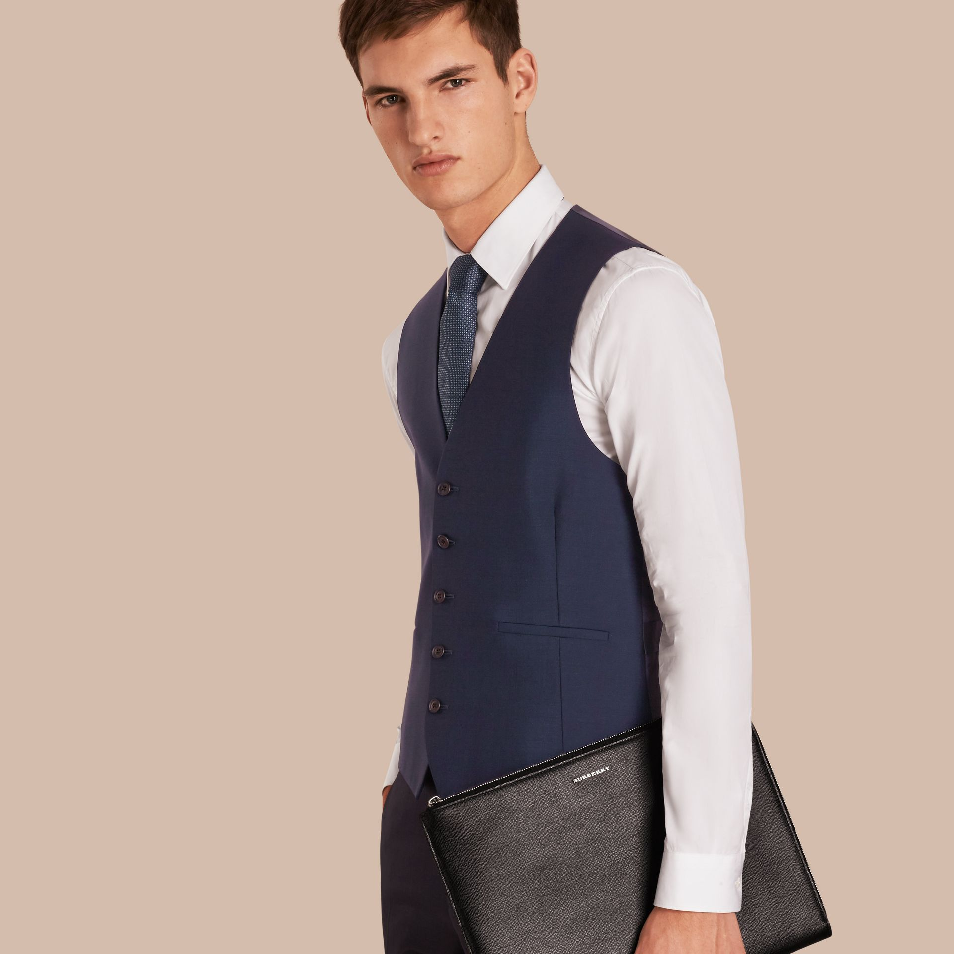 Navy Modern Fit Wool Mohair Tailored Waistcoat - gallery image 1