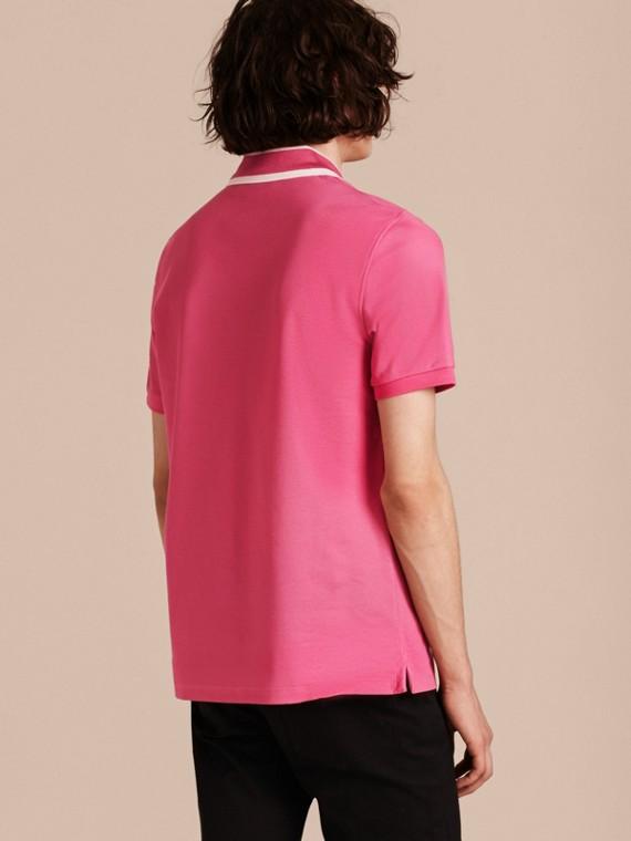 Striped Collar Cotton Piqué Polo Shirt Bright Crimson Pink - cell image 2