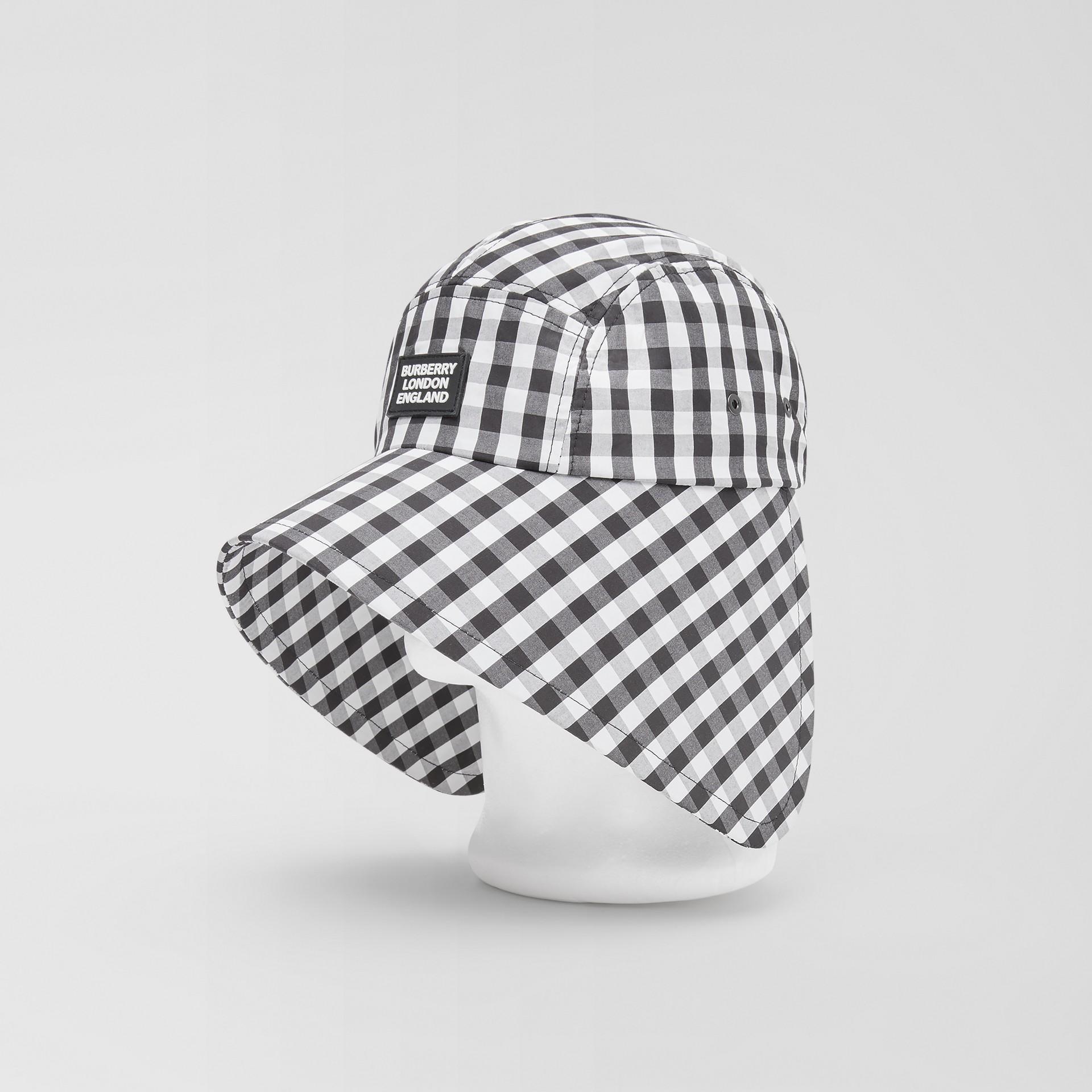 Logo Appliqué Gingham Cotton Bonnet Cap in Black/white | Burberry - gallery image 7