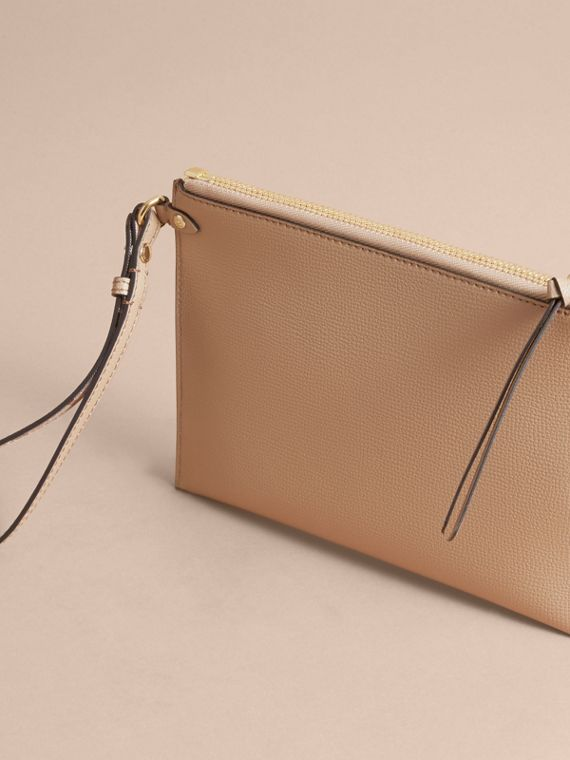 Haymarket Check and Leather Pouch in Mid Camel - Women | Burberry Australia - cell image 3