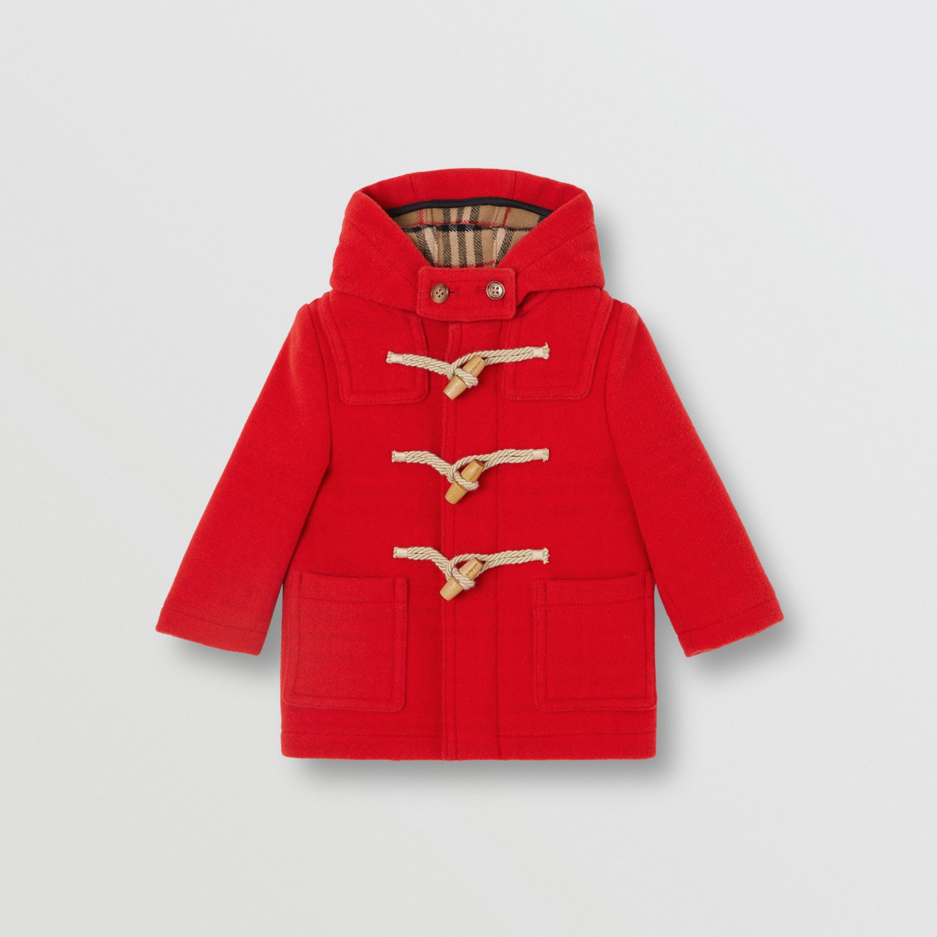 Boiled Wool Duffle Coat in Bright Red - Children | Burberry - gallery image 0