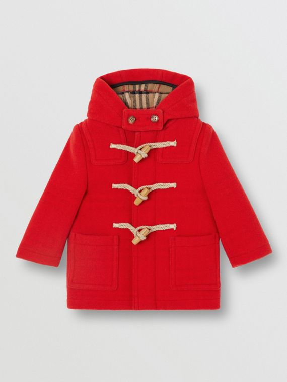 Boiled Wool Duffle Coat in Bright Red