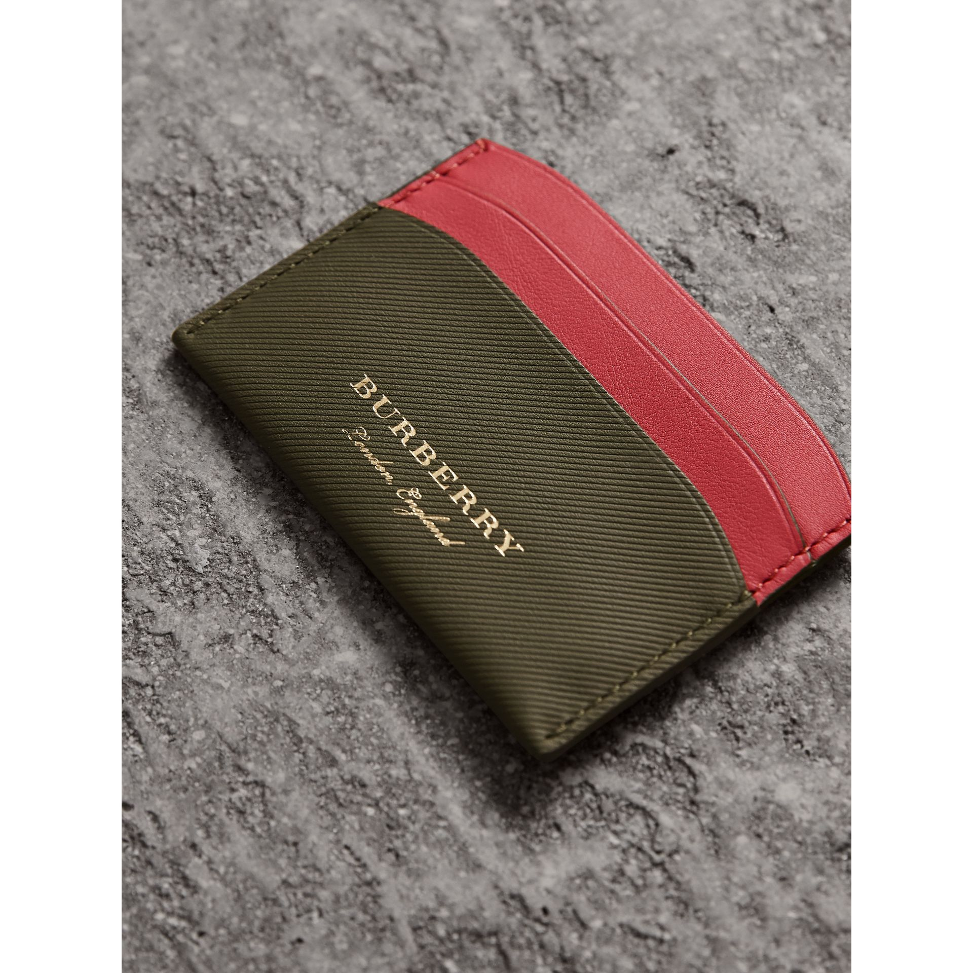 Two-tone Trench Leather Card Case in Mss Green/ Blsm Pink - Women | Burberry United States - gallery image 1