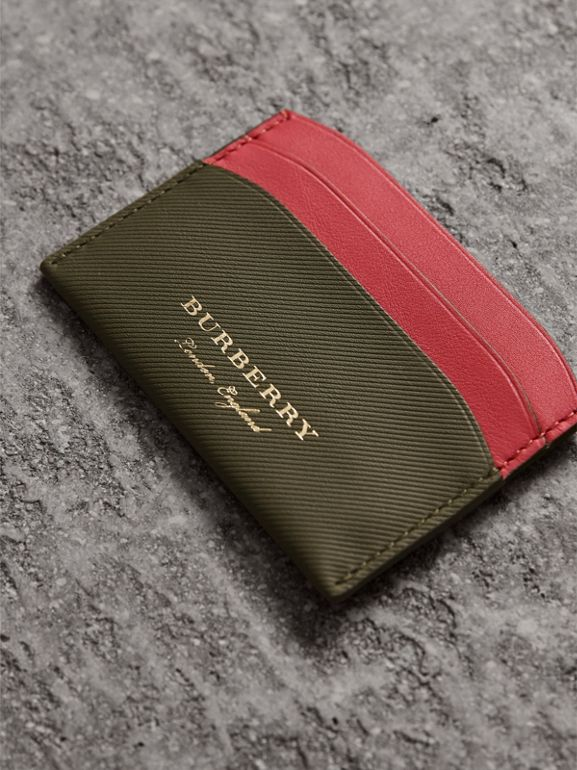 Two-tone Trench Leather Card Case in Mss Green/ Blsm Pink | Burberry - cell image 1