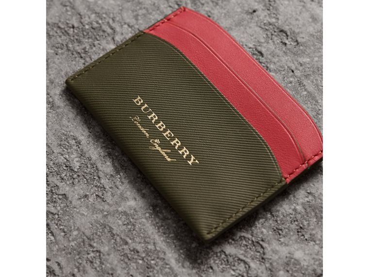 Two-tone Trench Leather Card Case in Mss Green/ Blsm Pink - Women | Burberry United States - cell image 1